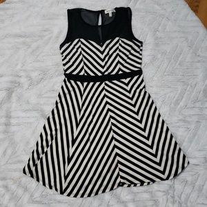Black and white striped skater dress mesh neckline